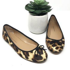 Banana Republic Leopard Calf Hair Bow Flats